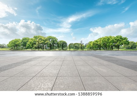 Empty square floor and green forest natural landscape