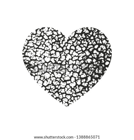 Isolated distress grunge heart with concrete texture. Element for greeting card, Valentine s Day, wedding. Creative concept. Vector illustration #1388865071