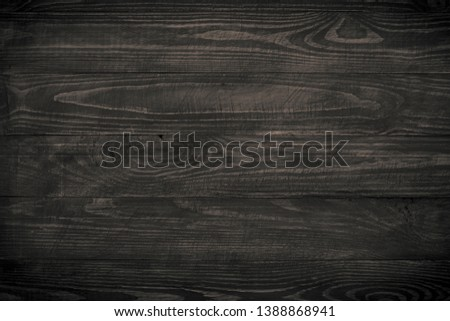 Wooden background. Dark wooden texture empty horizontal surface. Space for design. #1388868941