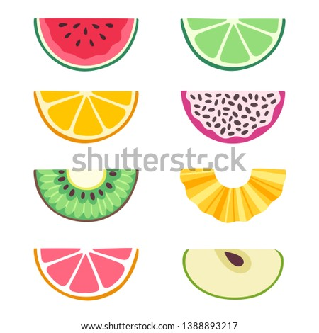 Vector set of fruit slices: watermelon, lime, orange, dragon fruit, kiwi, pineapple, grapefruit, apple. Collection of summer food. Fresh fruits are isolated on white. Bright stickers for scrapbooking. #1388893217