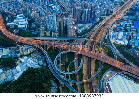 An overpass photographed by a drone #1388937935