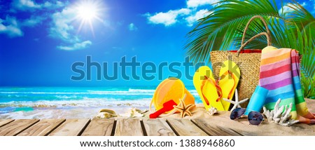 Tropical beach with sunbathing accessories, summer holiday background. Travel and beach family vacation #1388946860
