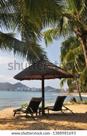 Rest on the shores of the South China Sea on tropical Hainan island, China #1388981693