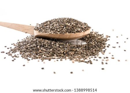 chia seeds on wooden spoon on white background #1388998514