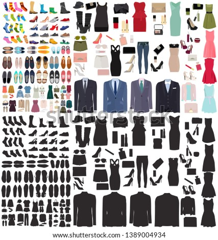 set of men's and women's shoes and clothes #1389004934