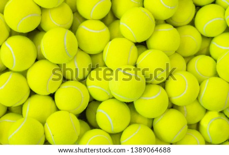 Lots of vibrant tennis balls, pattern of new tennis balls for background  #1389064688