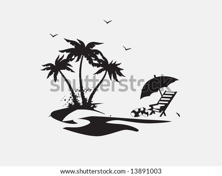 silhouette Palm trees with lounge chairs on the beach, vector illustration