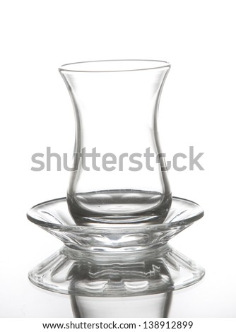 Turkish tea glass isolated on white background