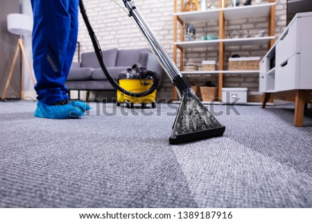 Human Cleaning Carpet In The Living Room Using Vacuum Cleaner At Home Royalty-Free Stock Photo #1389187916