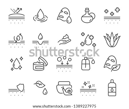 set of skin icons, such as aloevera, oil, nature, sun protect, dry, lotion Royalty-Free Stock Photo #1389227975