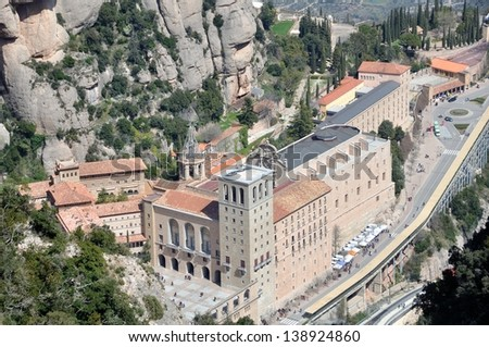Aerial view of Santa Maria de Montserrat Monastery in Catalonia, Spain #138924860