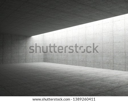 Abstract architecture interior background, empty concrete room with lighting in ceiling, 3d illustration - Illustration  #1389260411