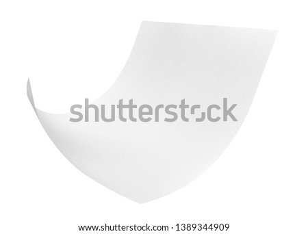 close up of flying papers on white background #1389344909