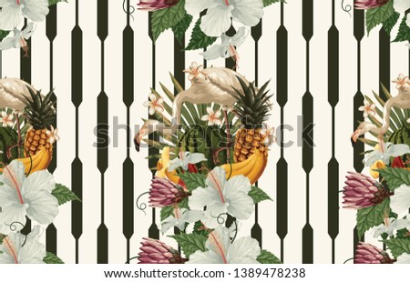 Vintage Beautiful and trendy Seamless Tropical Summer Pattern design in super high resolution. Pattern Decoration Texture. Vintage Style Design for Fabric Print, Wallpaper Background. #1389478238