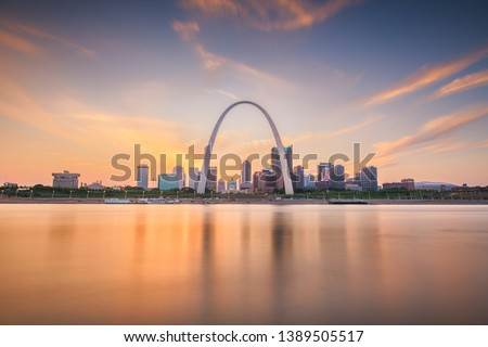 St. Louis, Missouri, USA downtown cityscape on the Mississippi River at twilight.  #1389505517