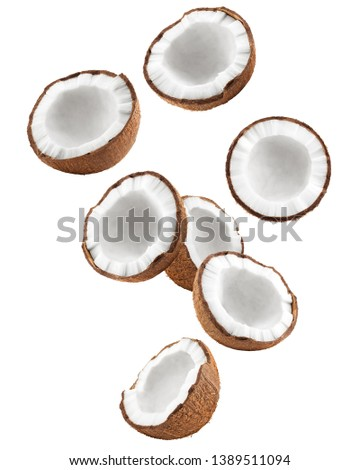 Falling coconut, isolated on white background, full depth of field, clipping path #1389511094