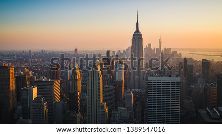 New York City Skyline with Urban Skyscrapers at Sunset, USA #1389547016