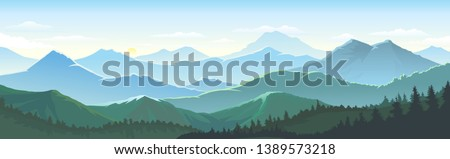 Large number of mountains, vast landscapes touching the horizons, skies and dense lush forest