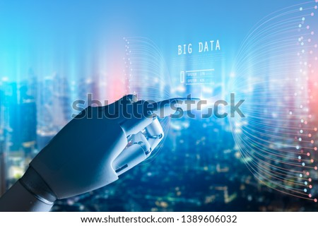 Artificial intelligence , Robot finger,robo advisor ,Big data, robotic future technology and business concept.Robot finger on blurred background using digital artificial intelligence interface. #1389606032