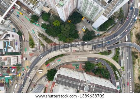 Choi Hung, Hong Kong 25 March 2019: Top view of Hong Kong city #1389638705
