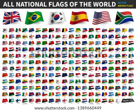 All national flags of the world . Waving flag design . Vector . #1389660449