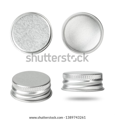 Silver bottle cap isolated on white background. Group of beverage lid for your design. ( Clipping paths ) #1389743261