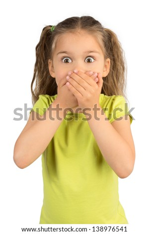 Cute Little Girl Covering Her Mouth Showing Intense Expression of Fear and Terror, Isolated #138976541
