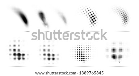Set of halftone dots curved gradient pattern texture isolated on white background. Curve dotted spots using halftone circle dot raster texture collection. Vector blot half tone collection.  #1389765845