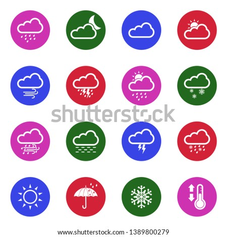 Weather Icons. Set 2. White Flat Design In Circle. Vector Illustration. #1389800279