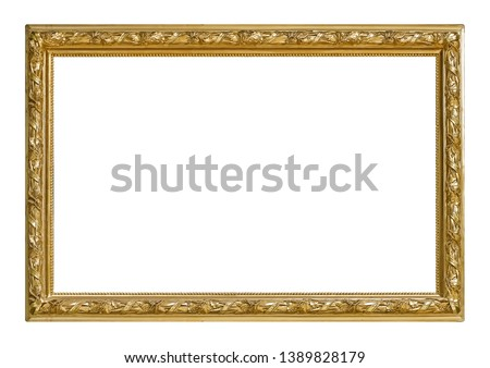 Golden frame for paintings, mirrors or photo isolated on white background. Design element with clipping path Royalty-Free Stock Photo #1389828179