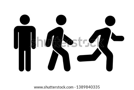 Man stands, walk and run icon set. Vector illustration Royalty-Free Stock Photo #1389840335