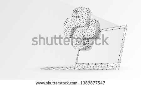 Python coding language sign on notebook screen. Device, programming, developing concept. Abstract, digital, wireframe, low poly mesh, vector white origami 3d illustration. Triangle, line, dot, star