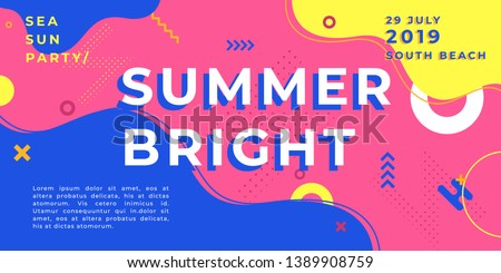 Unique artistic summer cards with bright gradient background,shapes and geometric elements in memphis style.Abstract design cards perfect for prints,flyers,banners,invitations,special offer and more.  Royalty-Free Stock Photo #1389908759