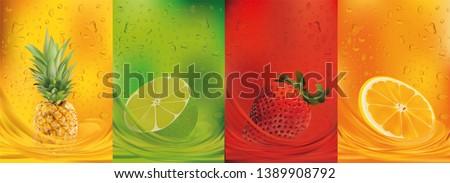Fruit juice, pineapple, lime, orange, strawberry.3d fresh fruits. Fruit splashes close up. Vector illustration. #1389908792