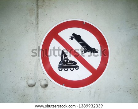 Prohibited area for skateboarding and roller skating #1389932339