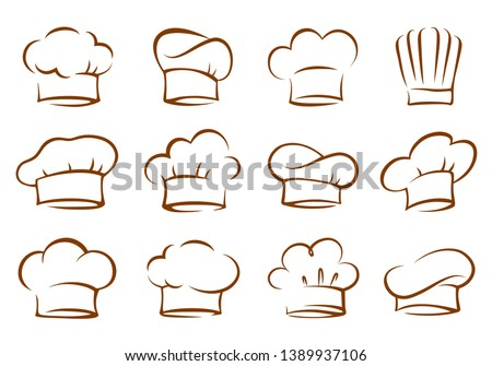 set of vintage chef and cook hats Royalty-Free Stock Photo #1389937106