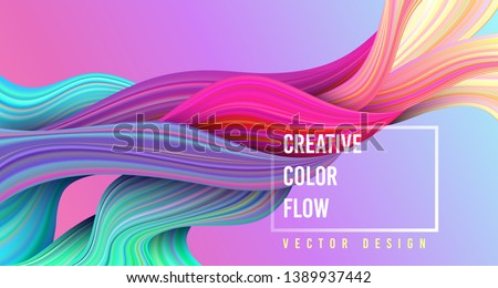 Modern colorful flow poster. Wave Liquid shape on multycolor background. Art design for your project. Vector illustration. #1389937442