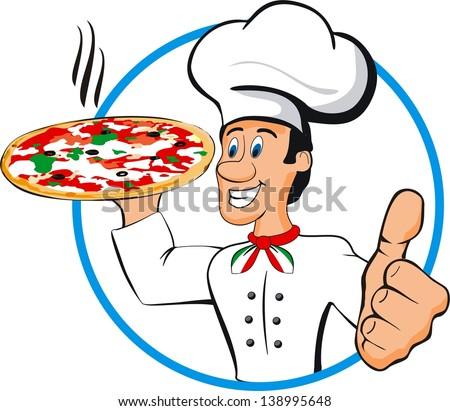 illustration of chef pizza