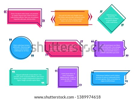 Texting boxes. Colored quote box speech bubble template text note brackets citation message page empty frame stickers cartoon vector isolated Royalty-Free Stock Photo #1389974618
