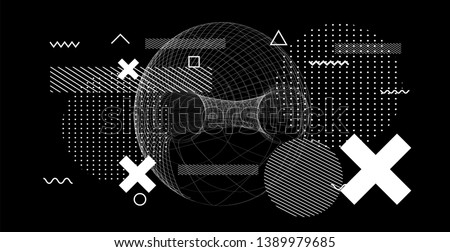 Abstract black and white glitched generative art background with neo-memphis geometric composition. Conceptual illustration of high-tech/ cyberpunk technologies of future/ virtual reality. #1389979685