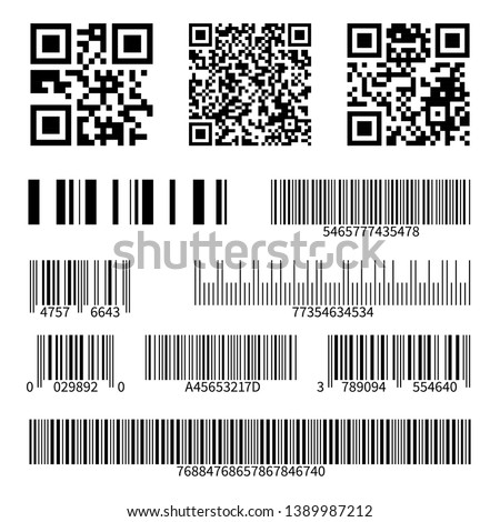 Barcodes. Supermarket scan code bars and qr codes, industrial barcode price black labels realistic isolated vector set