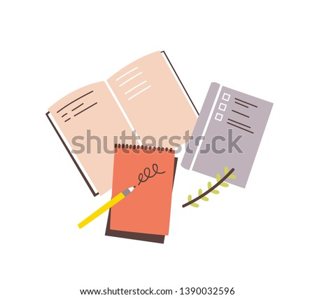 Notebooks, notepads, memo pads, planners, organizers for making writing notes and jotting isolated on white background. Decorative design elements. Colorful vector illustration in flat style. #1390032596
