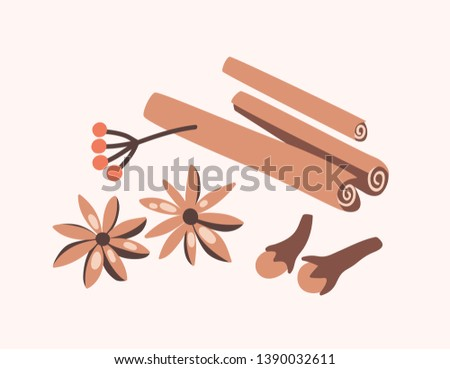 Cinnamon sticks, cloves and star anise isolated on light background. Aromatic spices or spicy food condiments used in culinary. Decorative design elements. Flat cartoon colorful vector illustration. Royalty-Free Stock Photo #1390032611