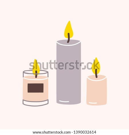 Burning wax or paraffin aromatic candles for aroma therapy isolated on light background. Cute hygge home decoration, holiday decorative design element. Flat cartoon colorful vector illustration. #1390032614
