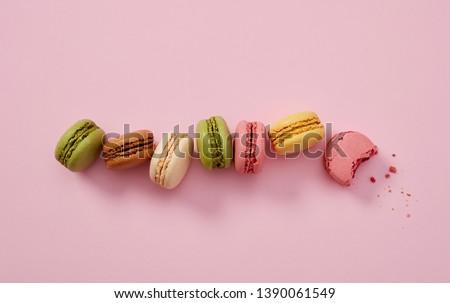 Macaroons close-up detail on pink #1390061549