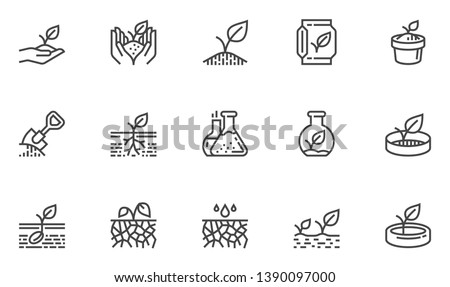 Soil Vector Line Icons Set. Growing Sprouts, Agronomy, Sprout nutrition, Growing Conditions. Editable Stroke. 48x48 Pixel Perfect. #1390097000
