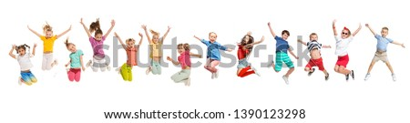 The kids dance school, ballet, hiphop, street, funky and modern dancers on white studio background. Girl is showing aerobic and dance element. Teen in hip hop style. Collage #1390123298