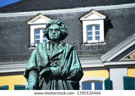 Bonn, North Rhine-Westphalia / Germany - September 25, 2018: Beethoven Monument in Bonn, Germany - Ludwig van Beethoven was a German Composer and pianist #1390126466