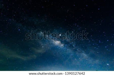 Milky Way with stars shining brightly beautiful at night on the sky background in Thailand