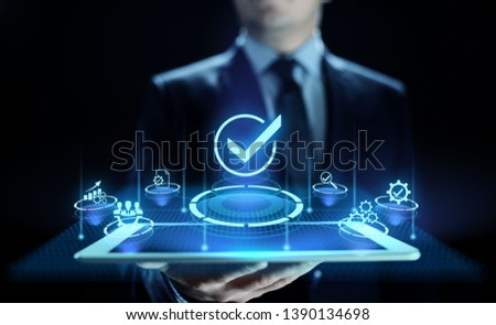 Standards quality Assurance control standardisation and certification concept. #1390134698